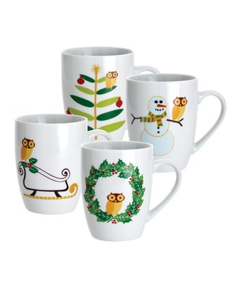Winter Owl Mug - Set of Four