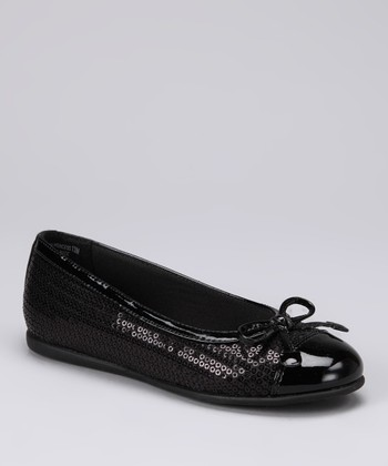 Black Sequin Princess Ballet Flat