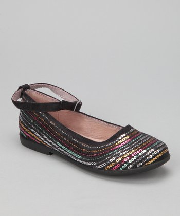 Black Sequin Penny Ankle-Strap Flat