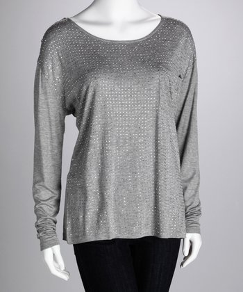 Gray Sequin Scoop Neck Top