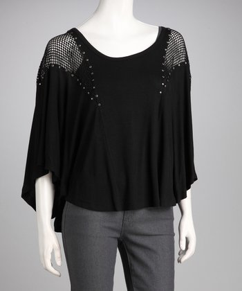 Black Mesh Studded Top