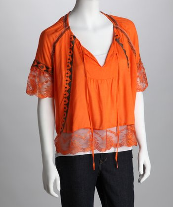 Orange Lace Embroidered Top