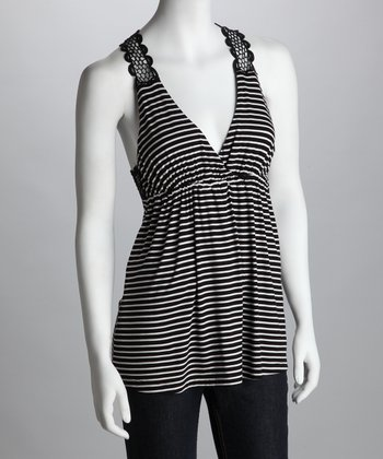 Black & White Stripe Crocheted-Back Tank