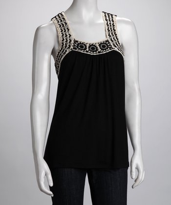 Black & Ivory Crocheted Tank