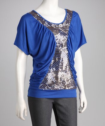 Blue Sequin Cape-Sleeve Top