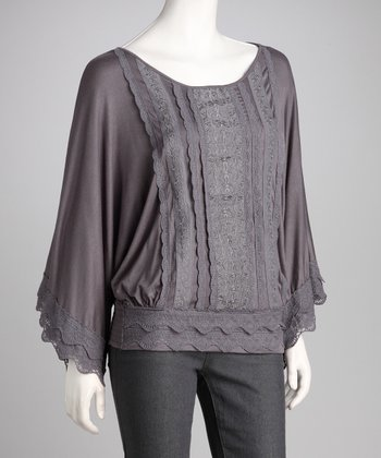 Gray Lace Bell-Sleeve Top