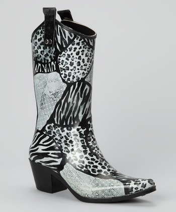 Black & White Urban Safari Cowboy Rain Boot
