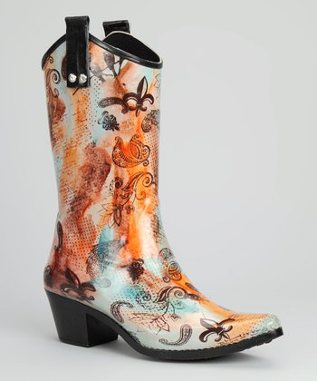 Orange & Brown Joie de Vivre Cowboy Rain Boot