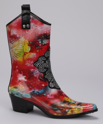 Red & Yellow Wyonna Cowboy Rain Boot
