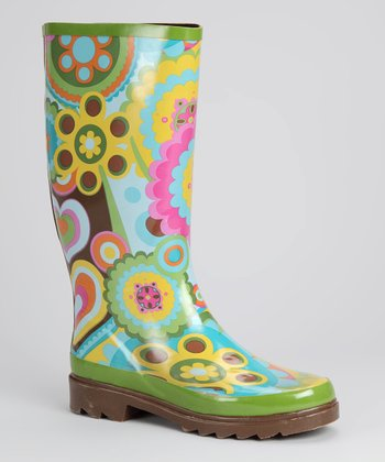 Green & Yellow Retro Rain Boot