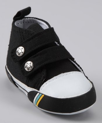 Black Double-Strap Hi-Top Shoe