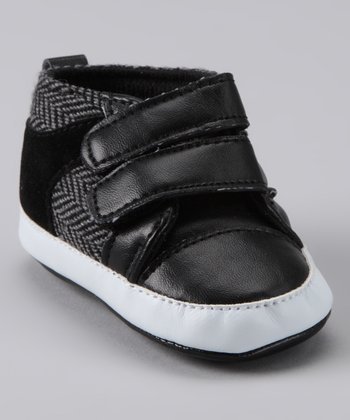 Black Herringbone Double Strap Shoe