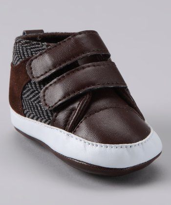 Brown Herringbone Double Strap Shoe