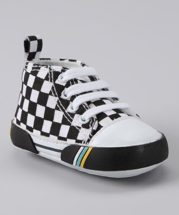 Black Checkerboard Hi-Top Sneaker