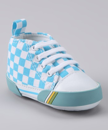 Rainbow Kids Blue Checkerboard Hi-Top