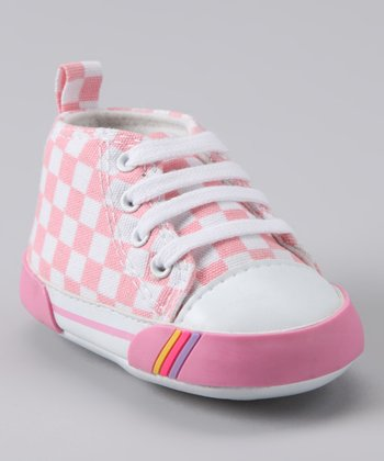 Pink Checkerboard Hi-Top Sneaker