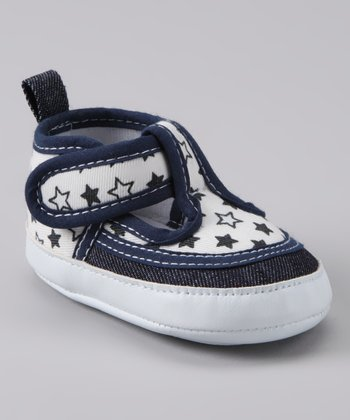 White & Navy Star T-Strap Shoe