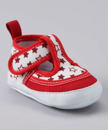 White & Red Star T-Strap Shoe