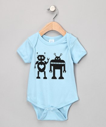Light Blue Robots Bodysuit - Infant