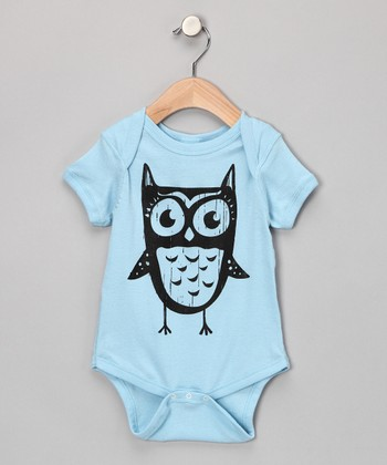 Light Blue Owl Bodysuit - Infant