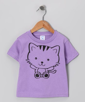 Lavender Kitty Tee - Toddler & Girls