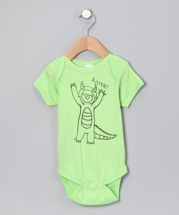 Rainbow Swirlz Key Lime 'Rawr!' Bodysuit - Infant