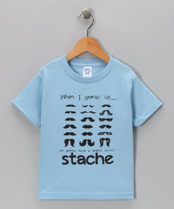 Blue 'Stache' Tee - Toddler & Boys