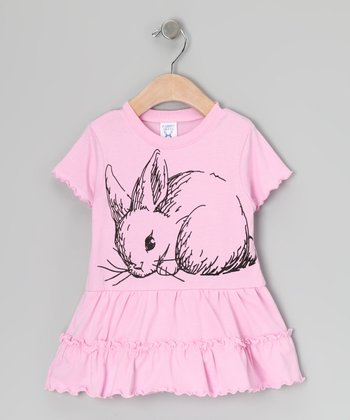 Light Pink Snuggle Bunny Ruffle Dress - Infant