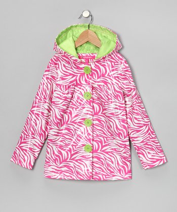 Fuchsia Zebra Raincoat - Girls