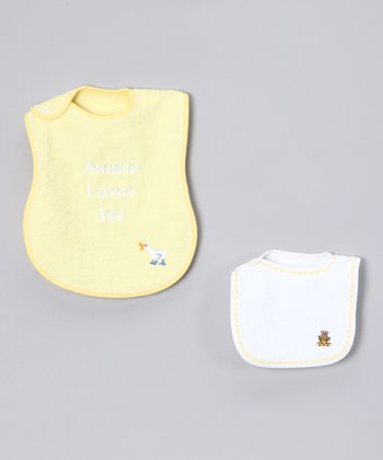 Yellow 'Auntie Loves Me' Bib Set