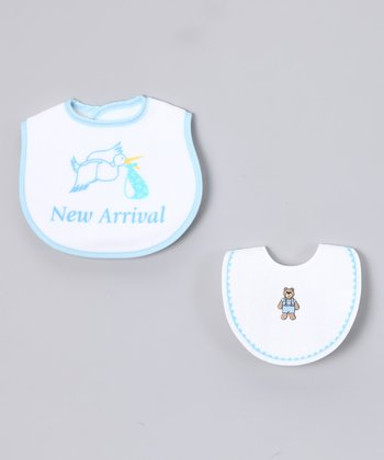 Blue & White 'New Arrival' Bib Set