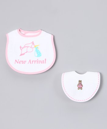 Pink & White 'New Arrival' Bib Set
