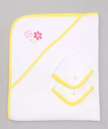 Yellow Flower Power Hooded Towel Set