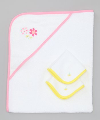 Pink Flower Power Hooded Towel Set