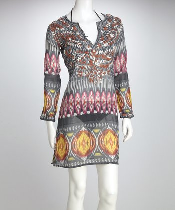 Gray Ikat Cover-Up