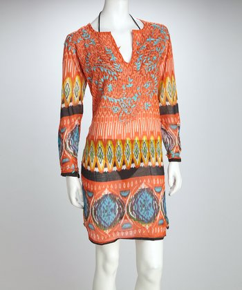 Orange Ikat Cover-Up