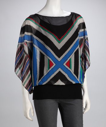 Rampage Blue & Black Geo Banded Cape-Sleeve Top
