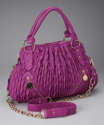 Berry Ruched Zip Satchel