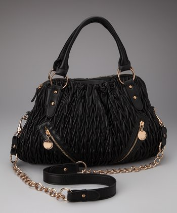 Black Ruched Zip Satchel