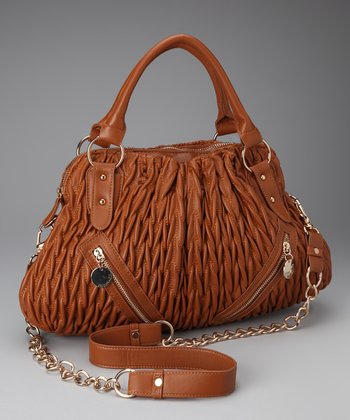 Cognac Ruched Zip Satchel
