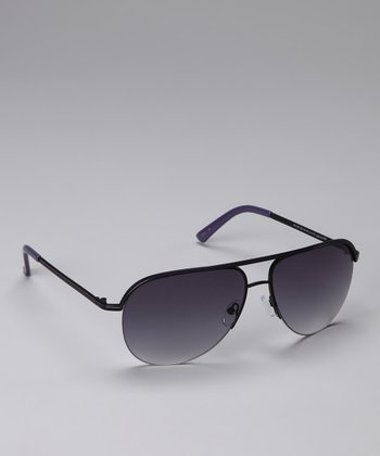 Black & Gray Wire-Frame Sunglasses