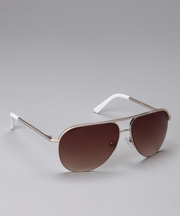 Brown Wire-Frame Sunglasses