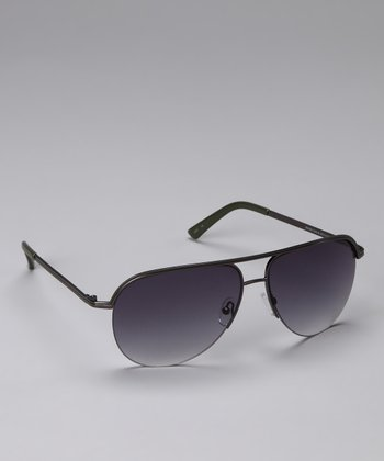 Gray & Black Wire-Frame Sunglasses