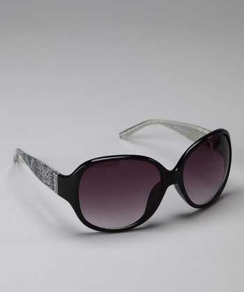 Purple & Black Round Sunglasses
