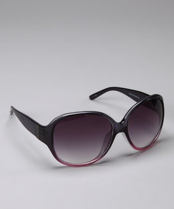 Black & Fuchsia Round Sunglasses