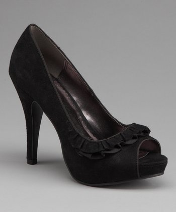 Black Genoa Peep-Toe Pump