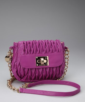Berry Textured Crossbody Bag