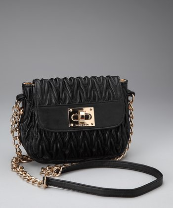 Black Textured Crossbody Bag
