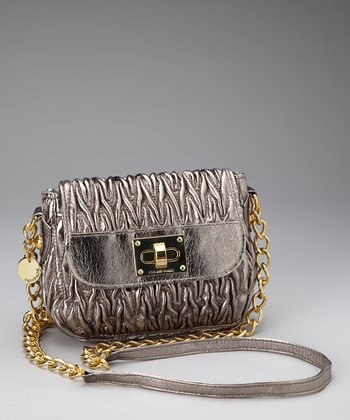 Pewter Textured Crossbody Bag