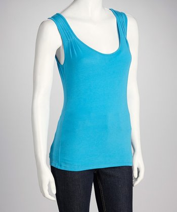 Pool Blue Pin-Tuck Tank